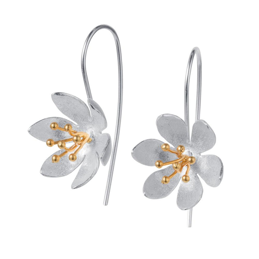 Christin Ranger Water Lily SIlver & Gold Earrings E146SG