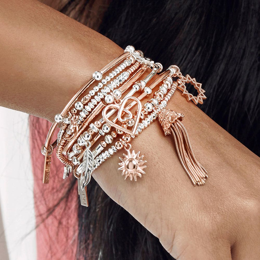 ChloBo Rose and silver true love tassel bracelet MBNFDS599