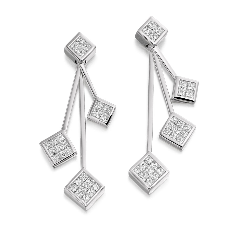 The Raphael Collection 18ct White Gold 3 Drop Diamond Earrings .1.10ct