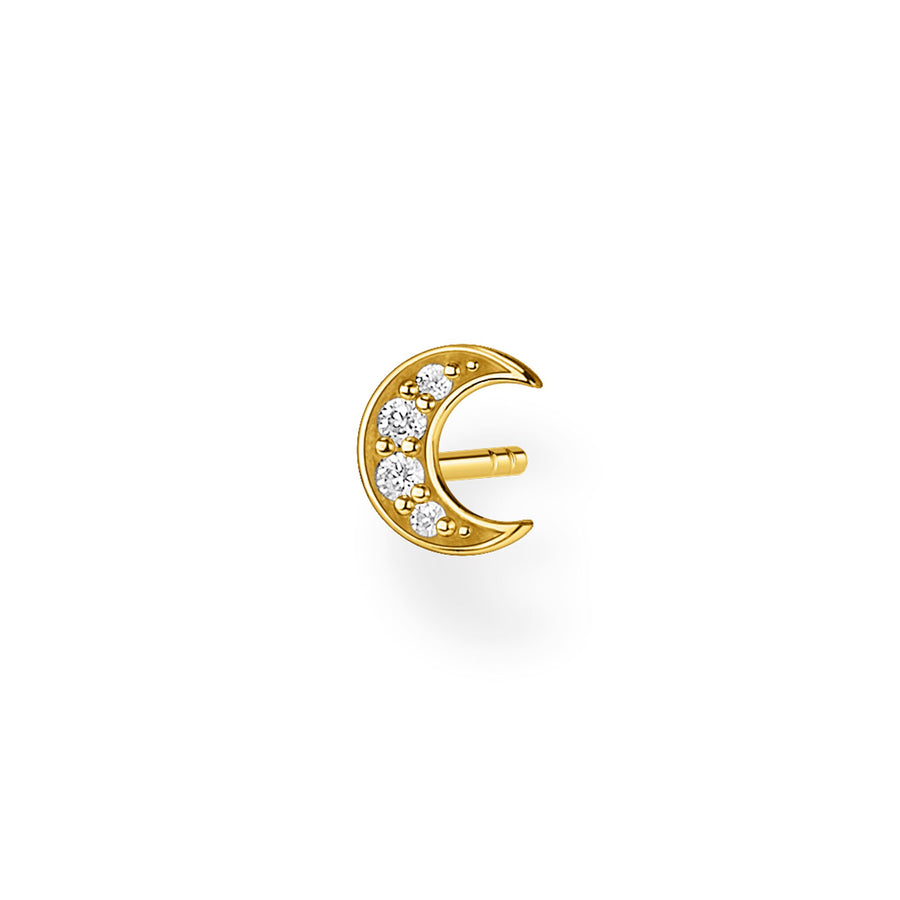 Thomas Sabo Silver Yellow Gold Moon Pave Ear Stud H2133-414-14