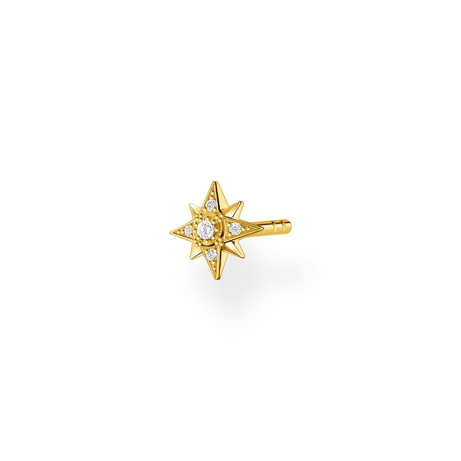 Thomas Sabo Silver Yellow Gold Embellished Little Star Ear Stud H2144-414-14