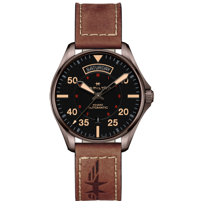 Hamilton Gents Khaki Pilot Day Date Automatic Watch H64605531