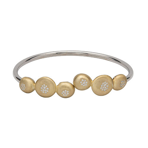 Sterling Silver 925 Bangle with Yellow Gold Plating and CZ MB-712GO