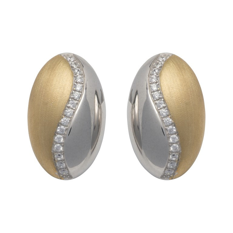Unique Silver 925 Stud Earrings with Yellow Gold Plating and CZ ME-716GO