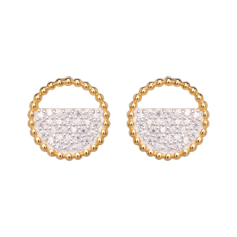 Unique Silver 925 Stud Earrings with Yellow Gold Plating and CZ ME-777