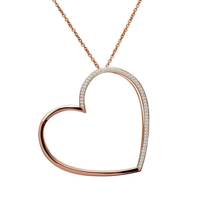 Silver 925 Pendant with Rose Gold Plating and CZ incl. Chain MK-659
