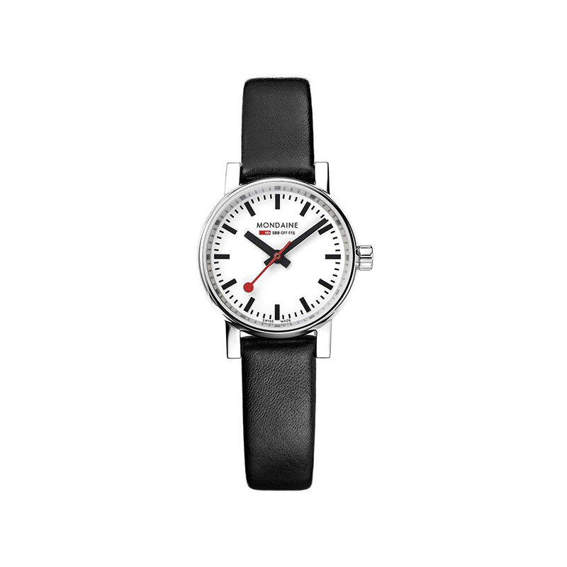 Mondaine EVO2 Petite 26mm White Dial Black Leather Strap MSE.26110.LB