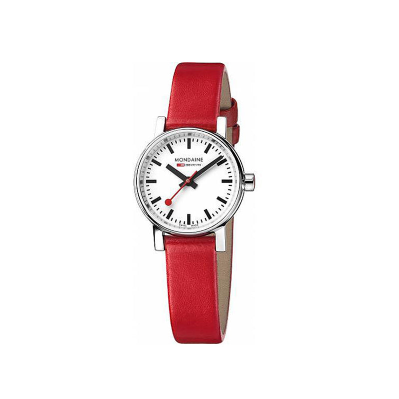 Mondaine EVO2 Petite 26mm White Dial Red Leather Strap MSE.26110.LC