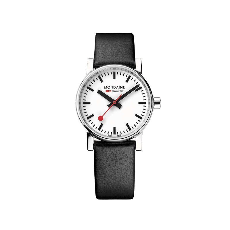 Mondaine EVO2 30mm White Dial Black Leather Strap Watch MSE.30110.LB