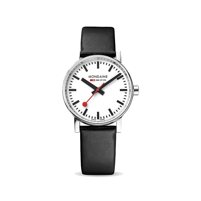 Mondaine Evo 2 Watch White Dial Black Leather Strap MSE.35110.LB