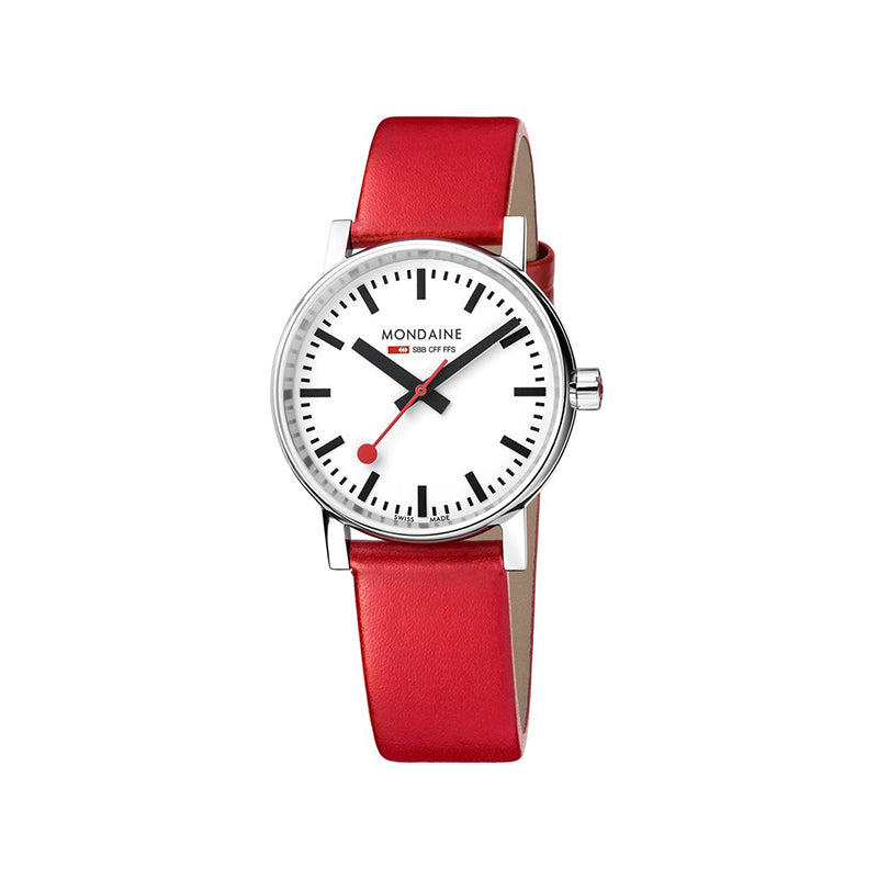Mondaine EVO2 35mm White Dial Red Leather Strap MSE.35110.LC