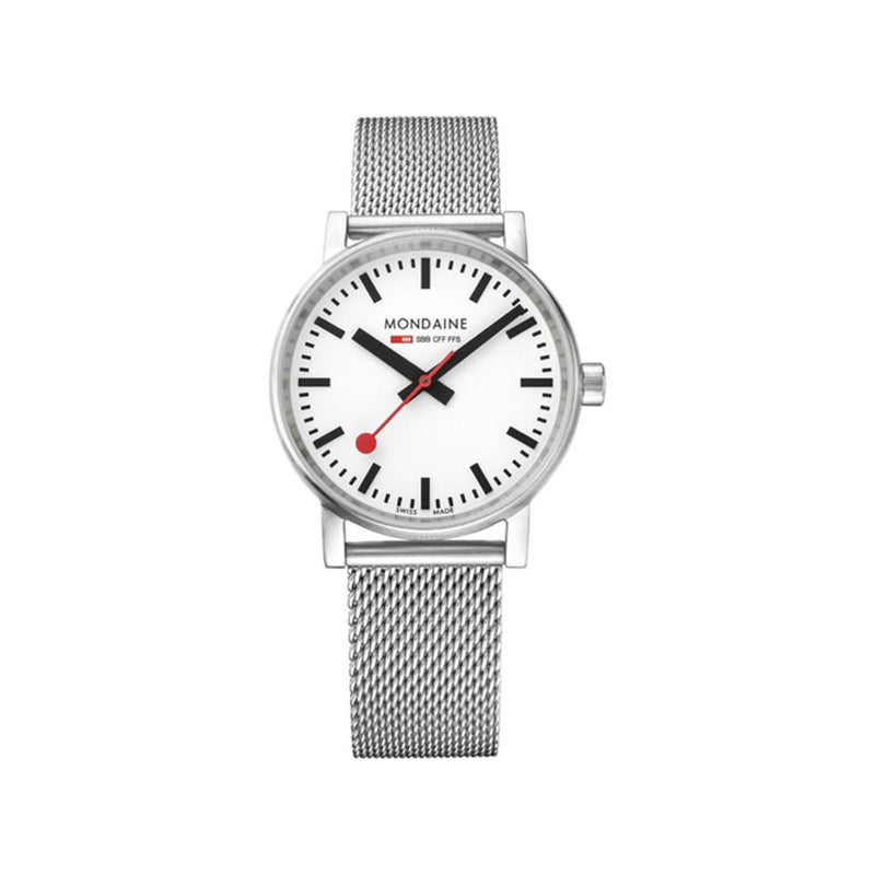 Mondaine Evo2 35mm White Dial Mesh Strap Watch MSE.35110.SM