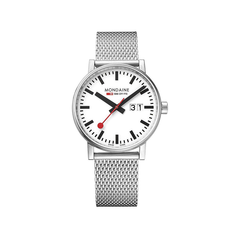 Mondaine Evo2 Big Date 40mm White Dial Mesh Strap Watch MSE.40210.SM