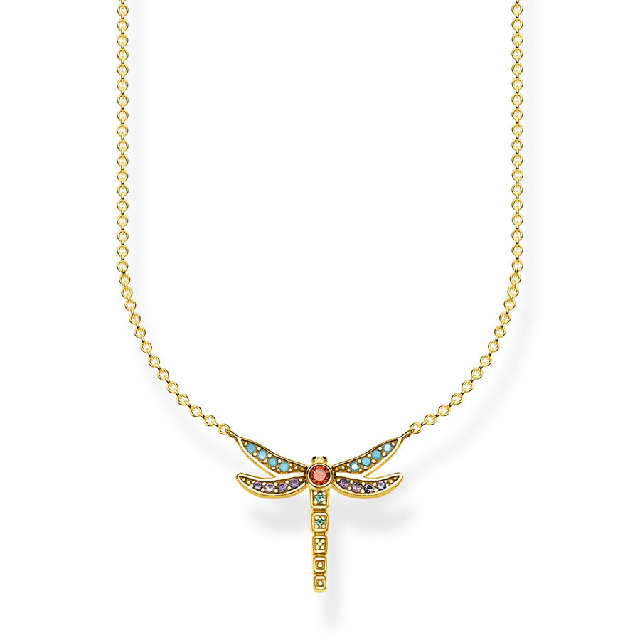 Thomas Sabo Small Dragonfly Necklace Gold KE1837-974-7-L45v
