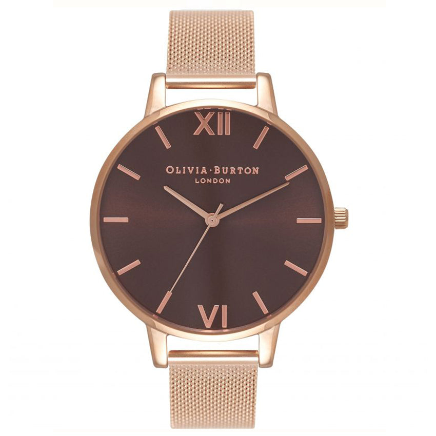 Olivia Burton Chocolate Dial Rose Gold Mesh Watch OB16BD86