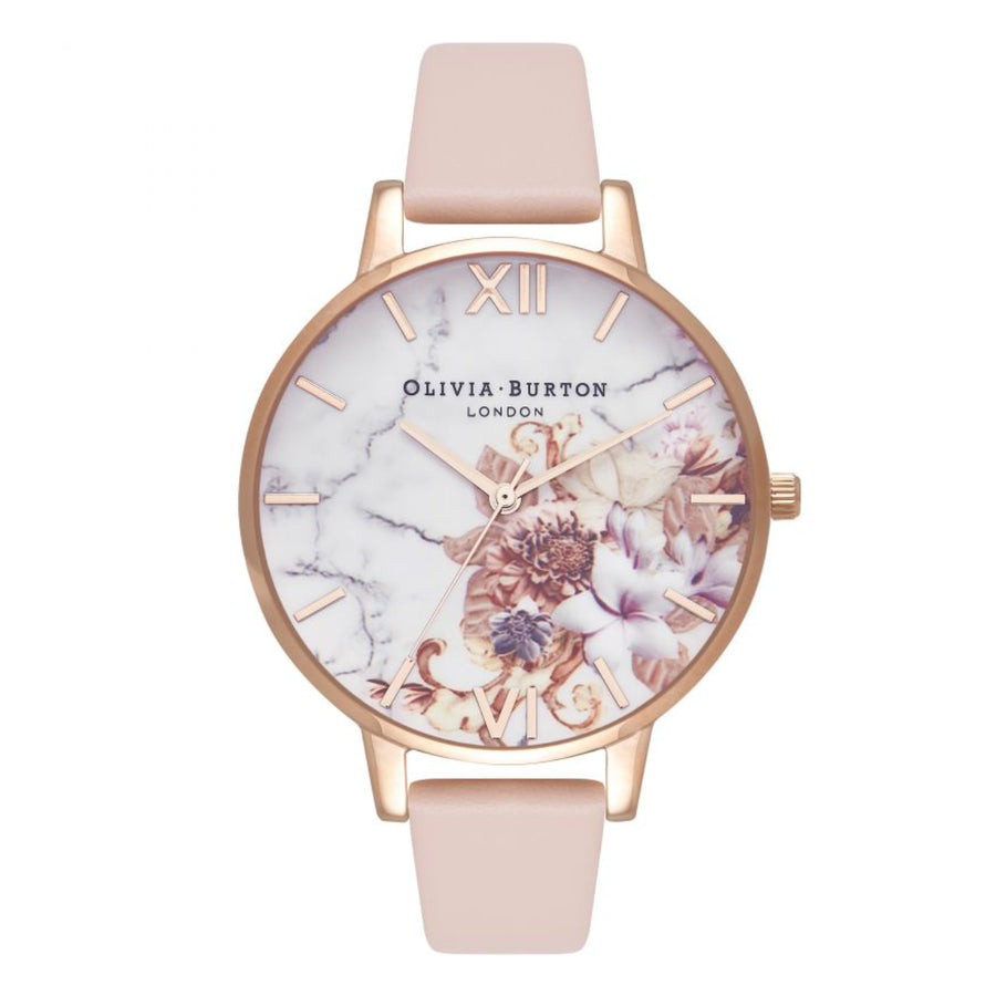 Olivia Burton Marble Florals Nude Peach & Rose Gold Watch OB16CS12