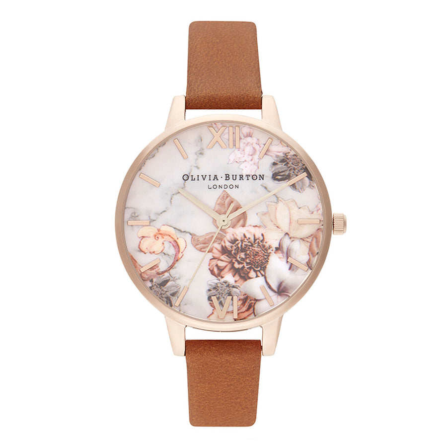 Olivia Burton Marble Floral Honey Tan & Rose gold Watch OB16CS30