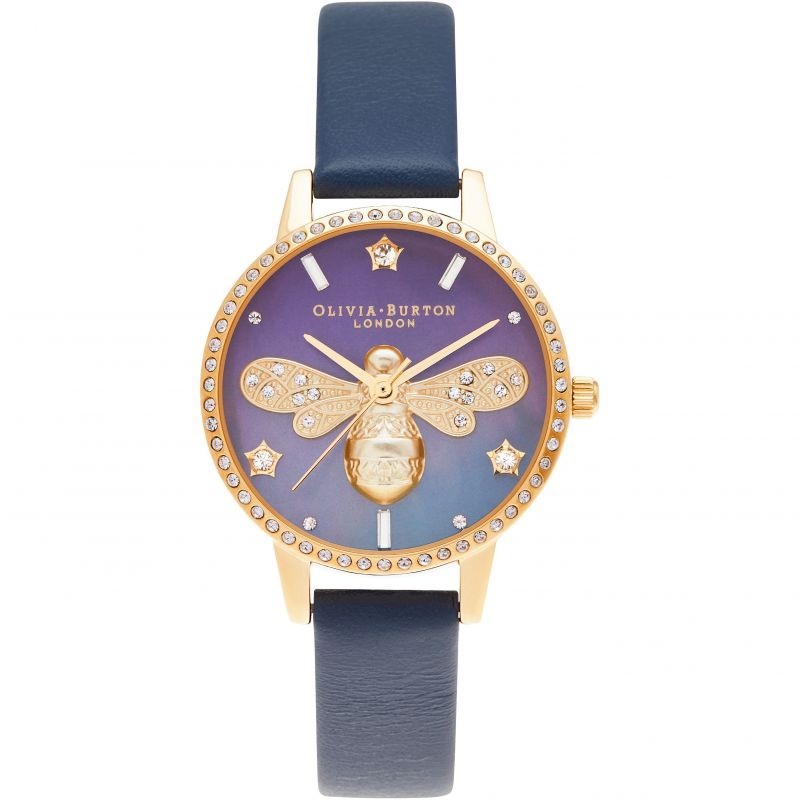 Olivia Burton Sparkle Bee Ombre MOP Midi Dial Navy & Gold Watch OB16GB06