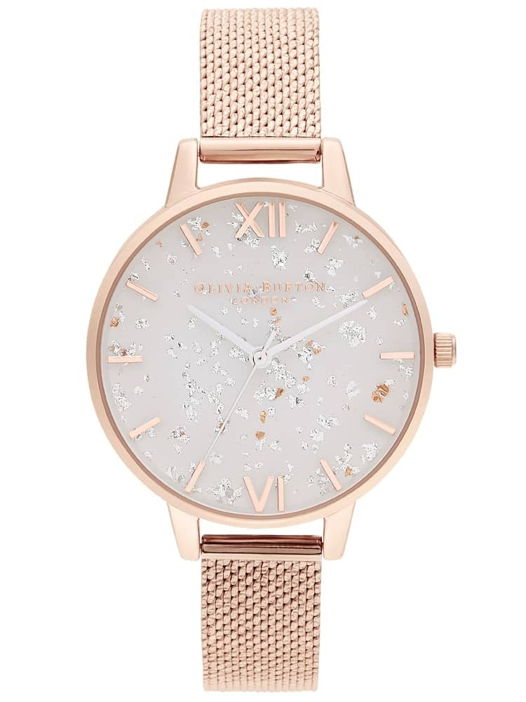 Olivia Burton Celestial Rose Gold Bouclé Mesh Watch OB16GD35