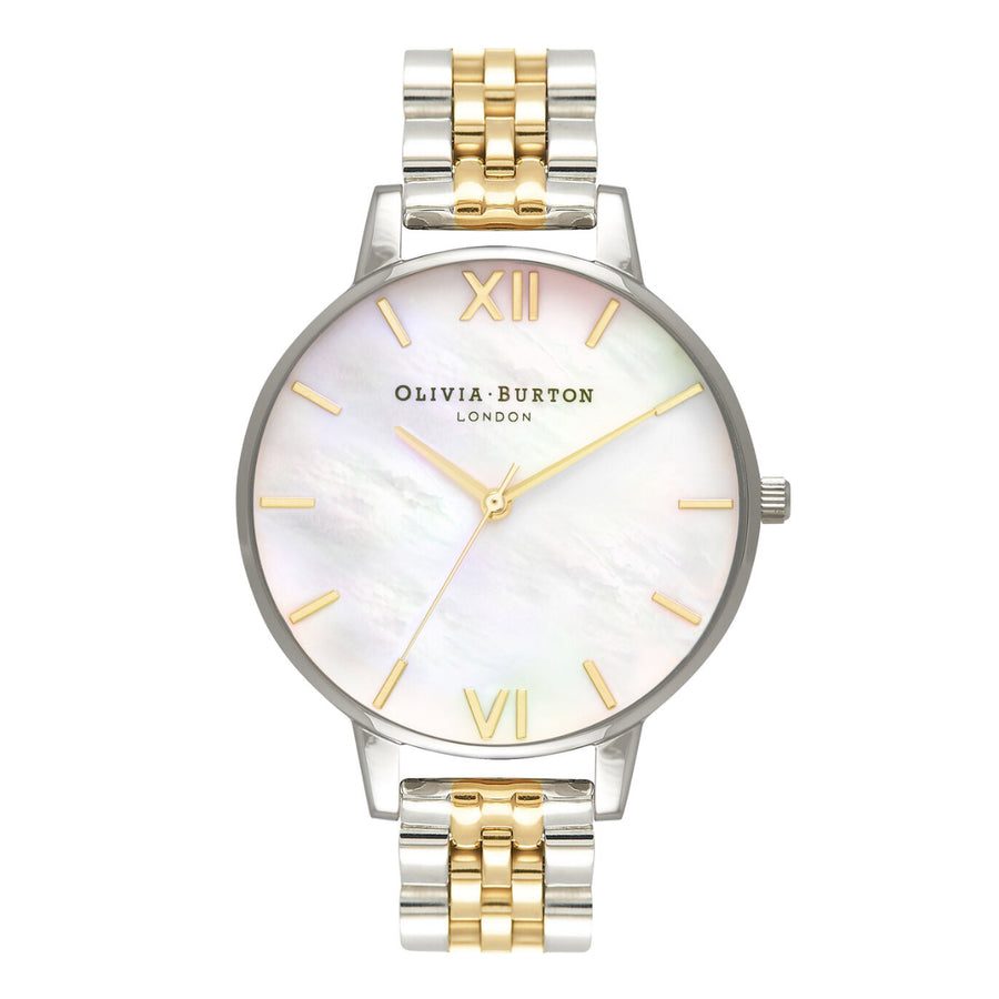 Olivia Burton BD White Mother of Pearl Dial Gold & Silver Bracelet Watch OB16MOP05