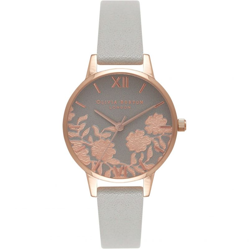 Olivia Burton Grey & Rose Gold Lace Detail Watch OB16MV58