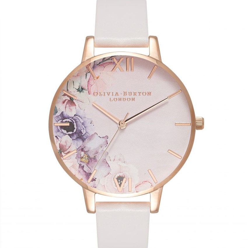 Watercolour Florals Rose Gold & Blush Watch OB16PP31