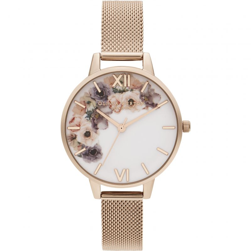 Olivia Burton Watercolour Florals Pale Rose Gold Mesh Watch OB16PP57