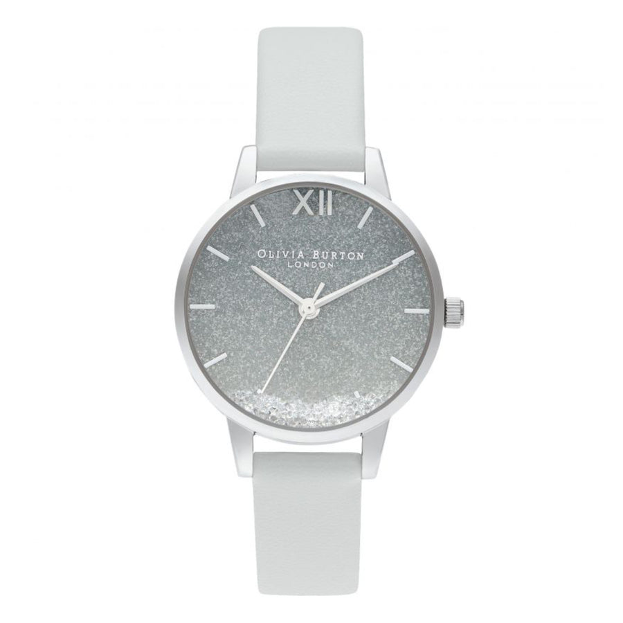 Olivia Burton Wishing Waves Ombre Glitter Dial Eco Light Grey & Silver Watch OB16US27