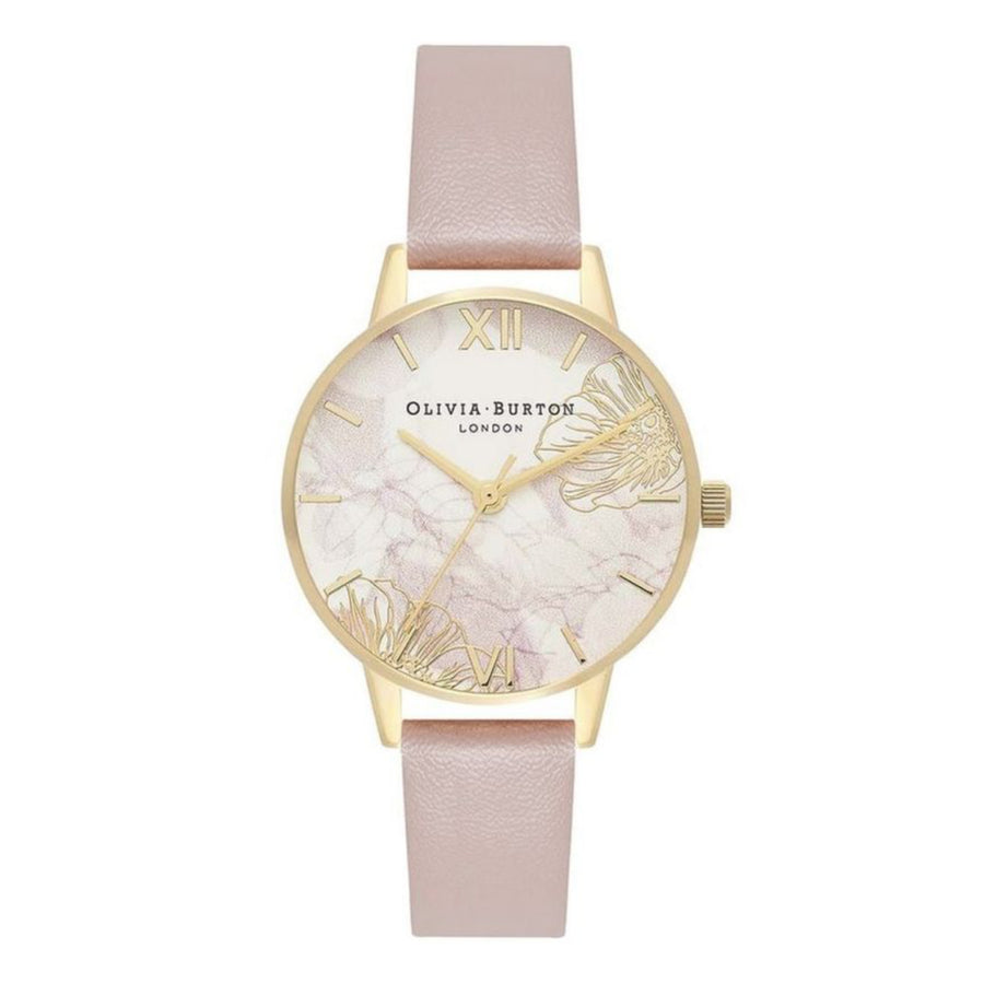 Olivia Burton Abstract Floral Vegan Rose Sand & Gold Watch OB16VM31
