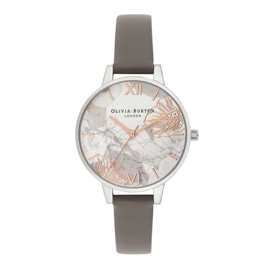 Olivia Burton Abstract Floral Light Grey & Silver Leather Strap Watch OB16VM32