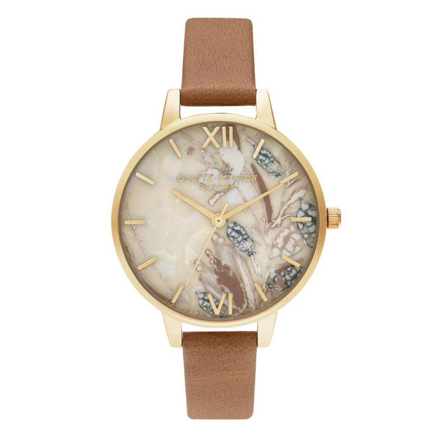 Olivia Burton Abstract Floral Honey Tan & Gold Leather Strap Watch OB16VM39