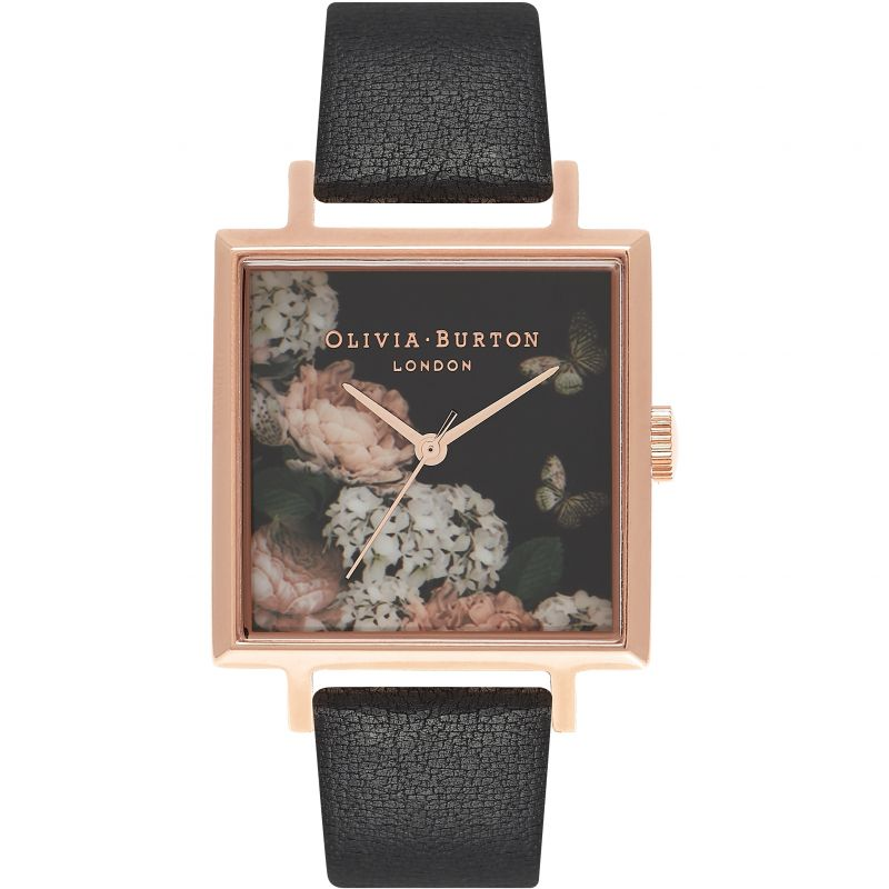 Olivia Burton Signature Floral Big Square Dial Black & Rose Gold Watch OB16WG27