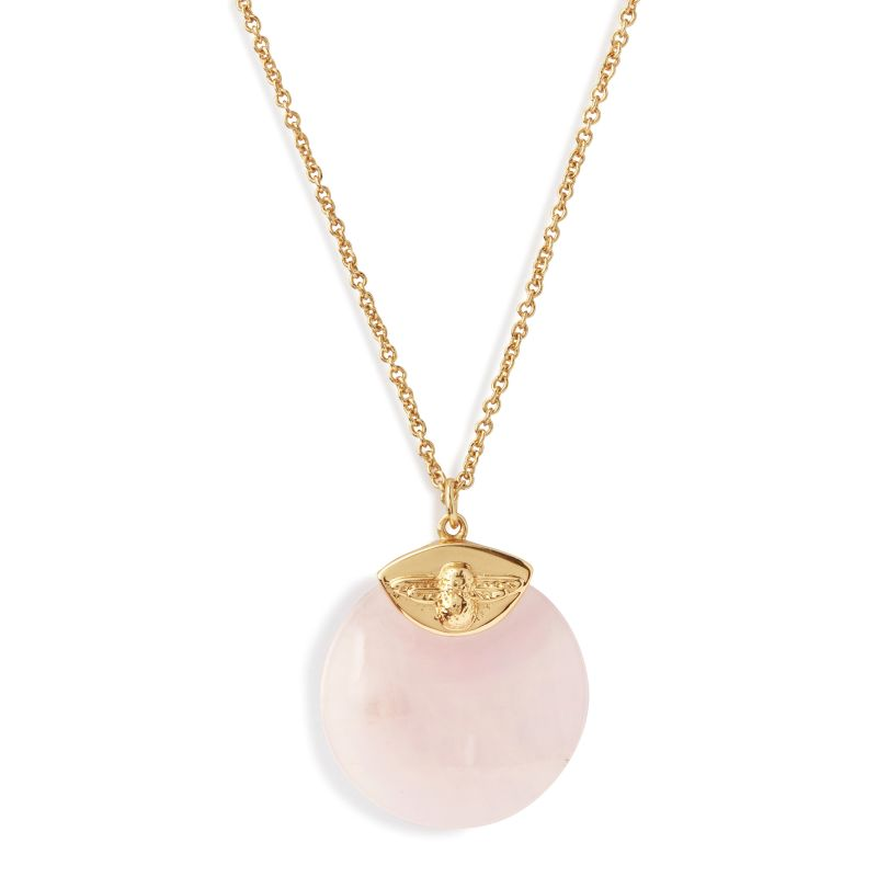 Olivia Burton Semi Precious Bee Necklace Gold and Rose Quartz OBJ16AMN40