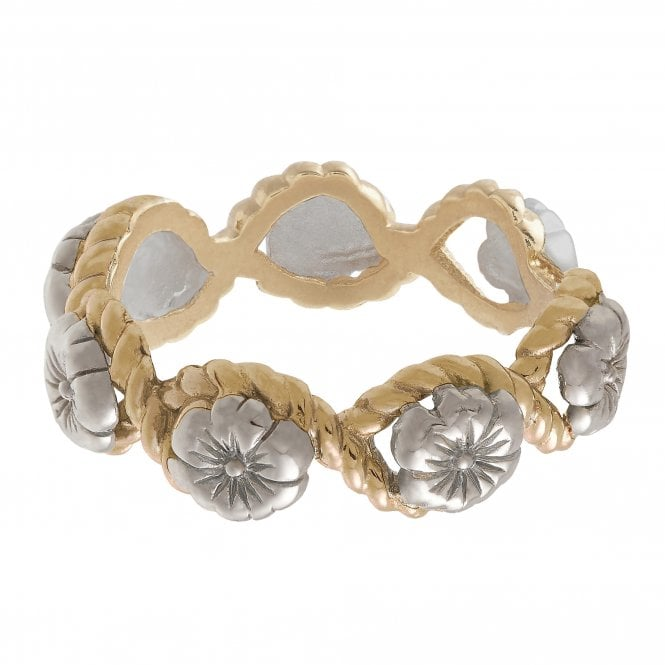 Olivia Burton Flower Show Rope Ring Silver and Gold OBJ16FSR07