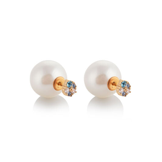Olivia Burton White Pearl Back Blue & White Crystal Earrings Gold OBJSCE08