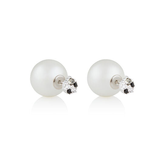 Olivia Burton White Pearl Back Black & White Crystal Earrings Silver OBJSCE10