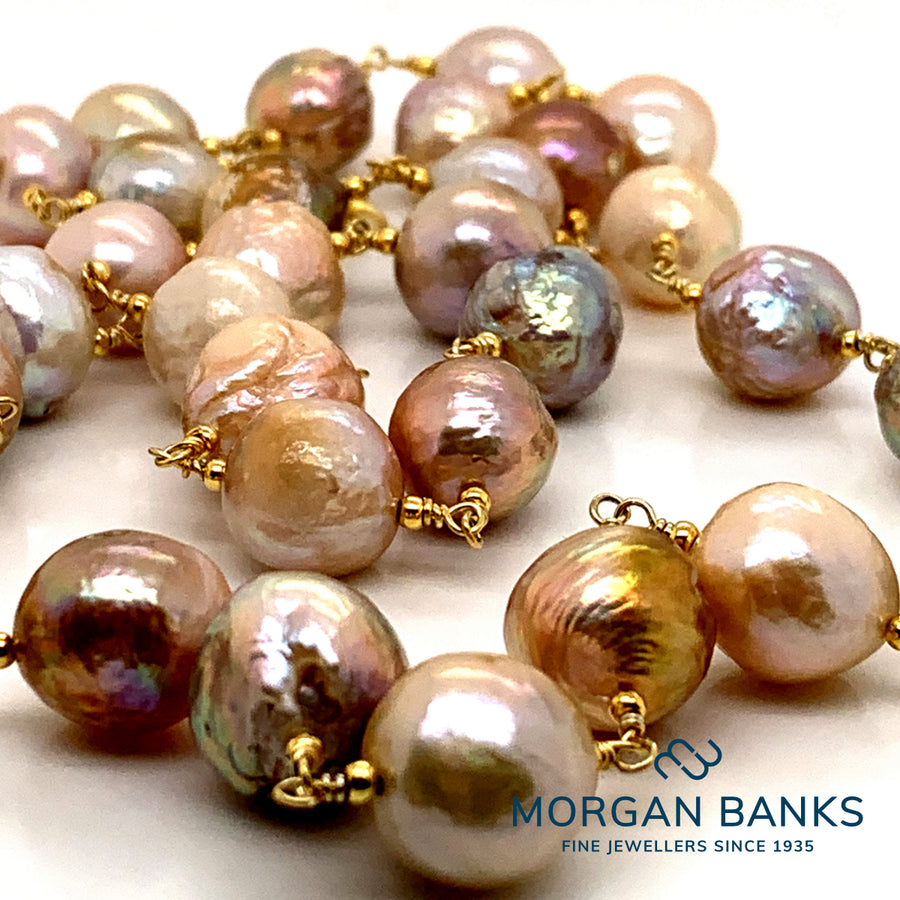 Gold Pearl Necklace PEAN1