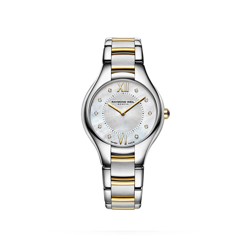 Raymond Weil Ladies Noemia Quartz Two-Tone Gold 10 Diamond Watch 5132-STP-00985