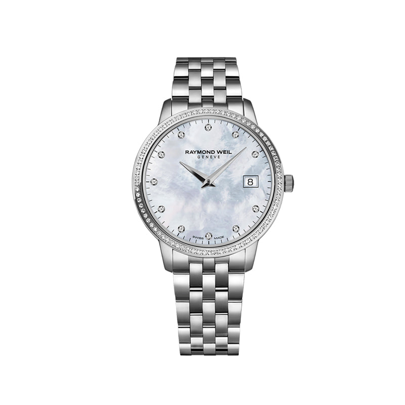 Raymond Weil Ladies Diamond Set Mother of Pearl Freelancer 5626-ST-97081