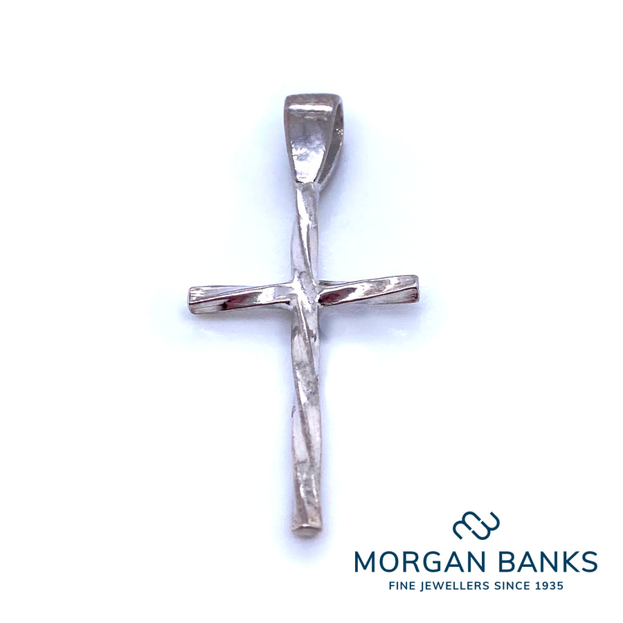 Silver Twisted Cross Pendant