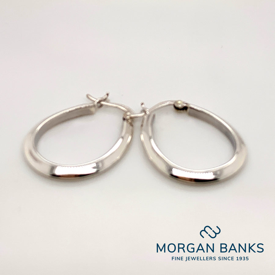 Silver Oval Hoop Earrings SILE3