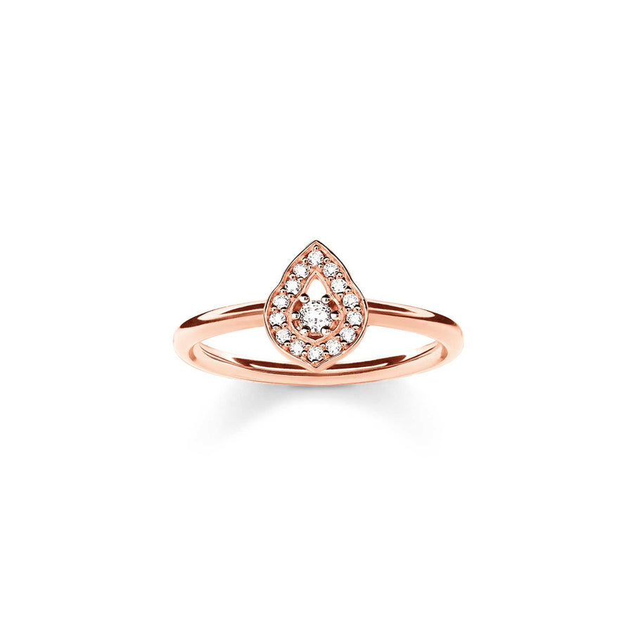 Thomas Sabo Ring 925 Sterling Silver Gold Plated Rose Gold Zirconia White TR2069-416-14