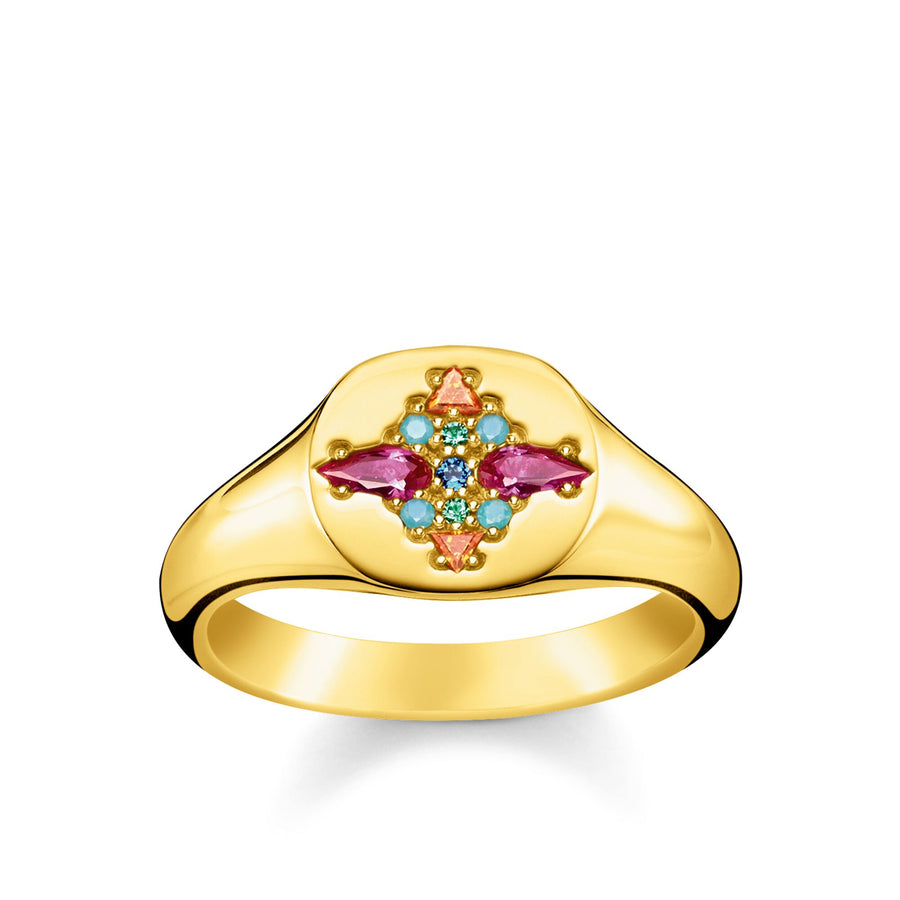 Thomas Sabo Gold Colourful Stones Ring Size 54 TR2231-996-7-54