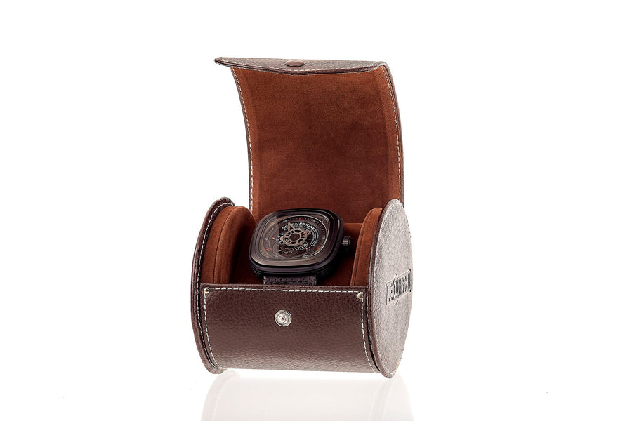 Oval Watch Roll  Chocolate colour WP01-XLChoc