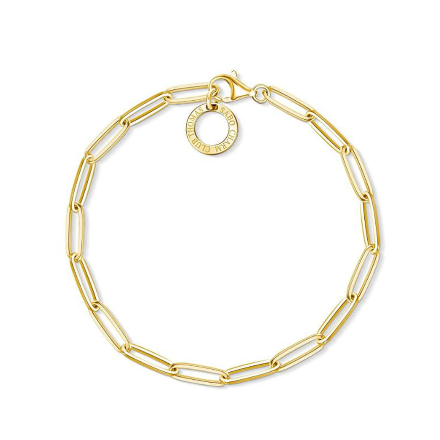 Thomas Sabo Charm bracelet, X0253-413-39-L18,5 925 Sterling silver, gold plated yellow gold 18,5 cm