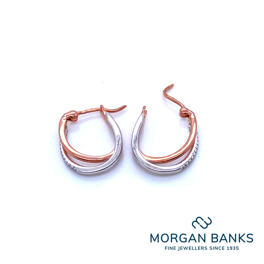 Mark Milton White and Rose Gold Earrings 7W45D