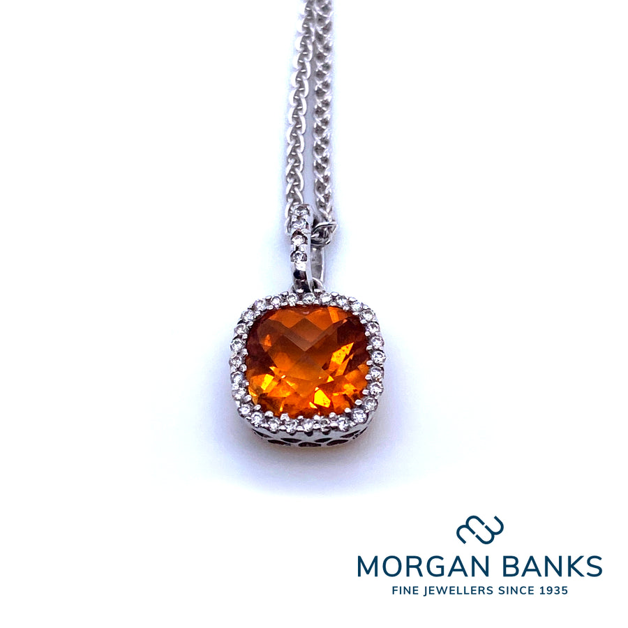 18Ct White Gold Diamond and Citrine Pendant with Silver Spiga Chain
