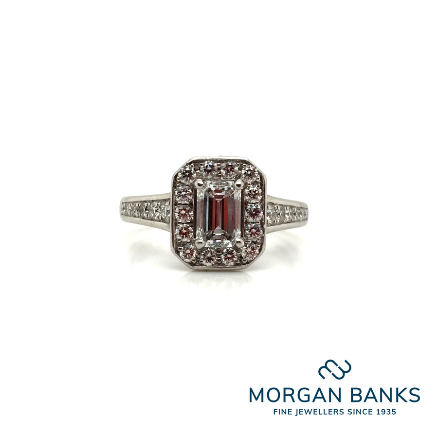 The Raphael Collection Platinum Diamond Emerald Cut Ring ENG3349