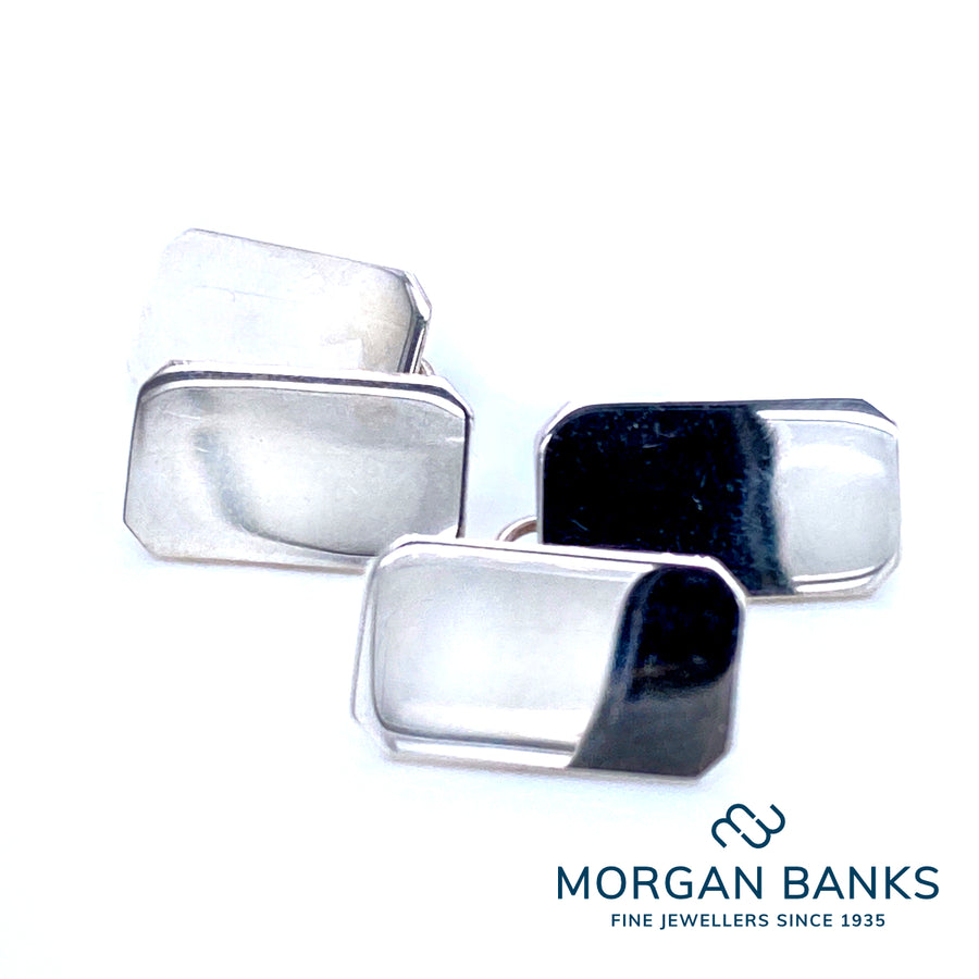 Anchor Rectangular Silver Cufflinks CL10 P.S.W