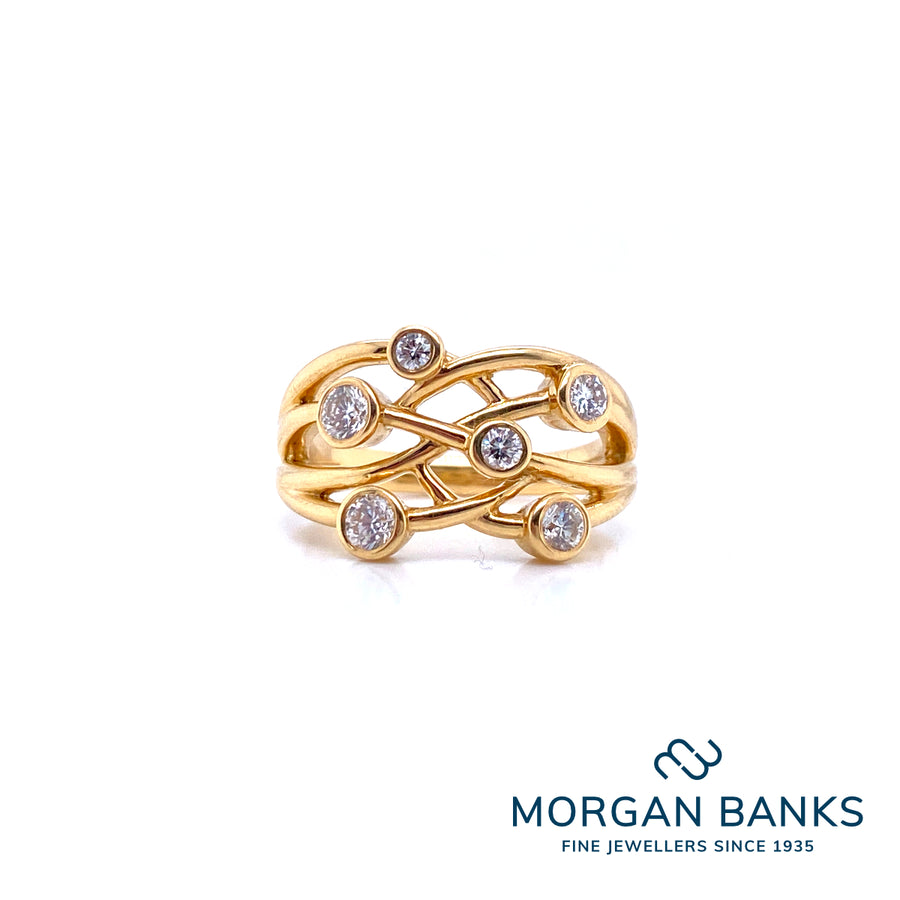 Domino 18ct Yellow Gold 6 Stone Bubble Ring RL87